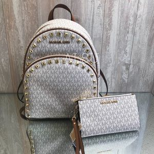 Michael Kors Set Abbey:Mid Backpack+Wallet Vanilla